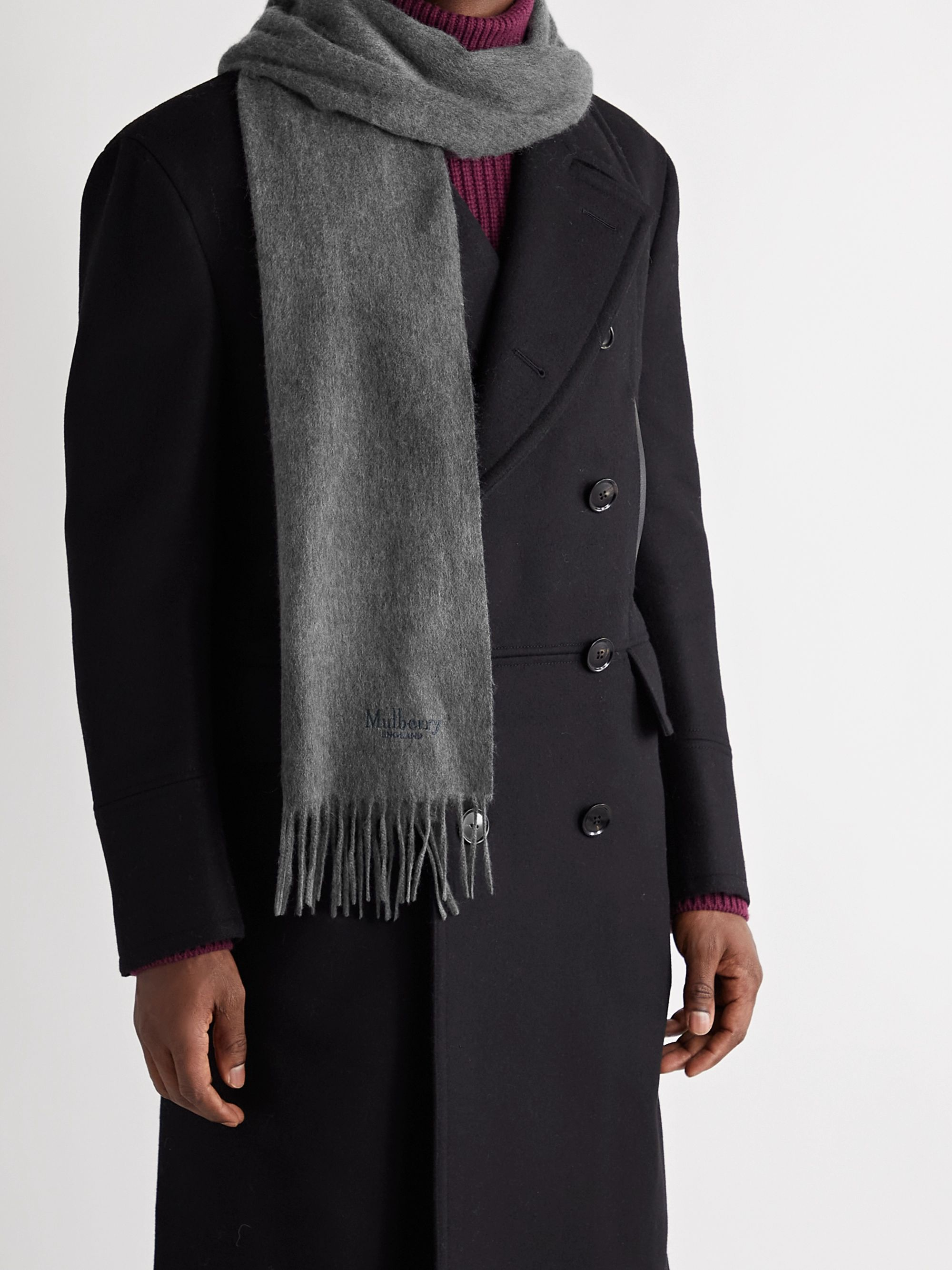 MULBERRY Logo-Embroidered Fringed Cashmere Scarf