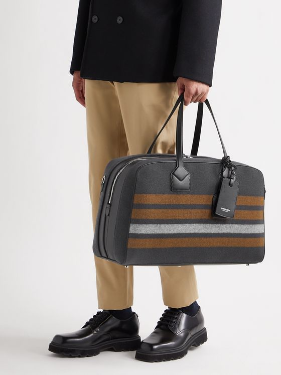 BURBERRY Leather-Trimmed Striped Virgin Wool-Twill Holdall