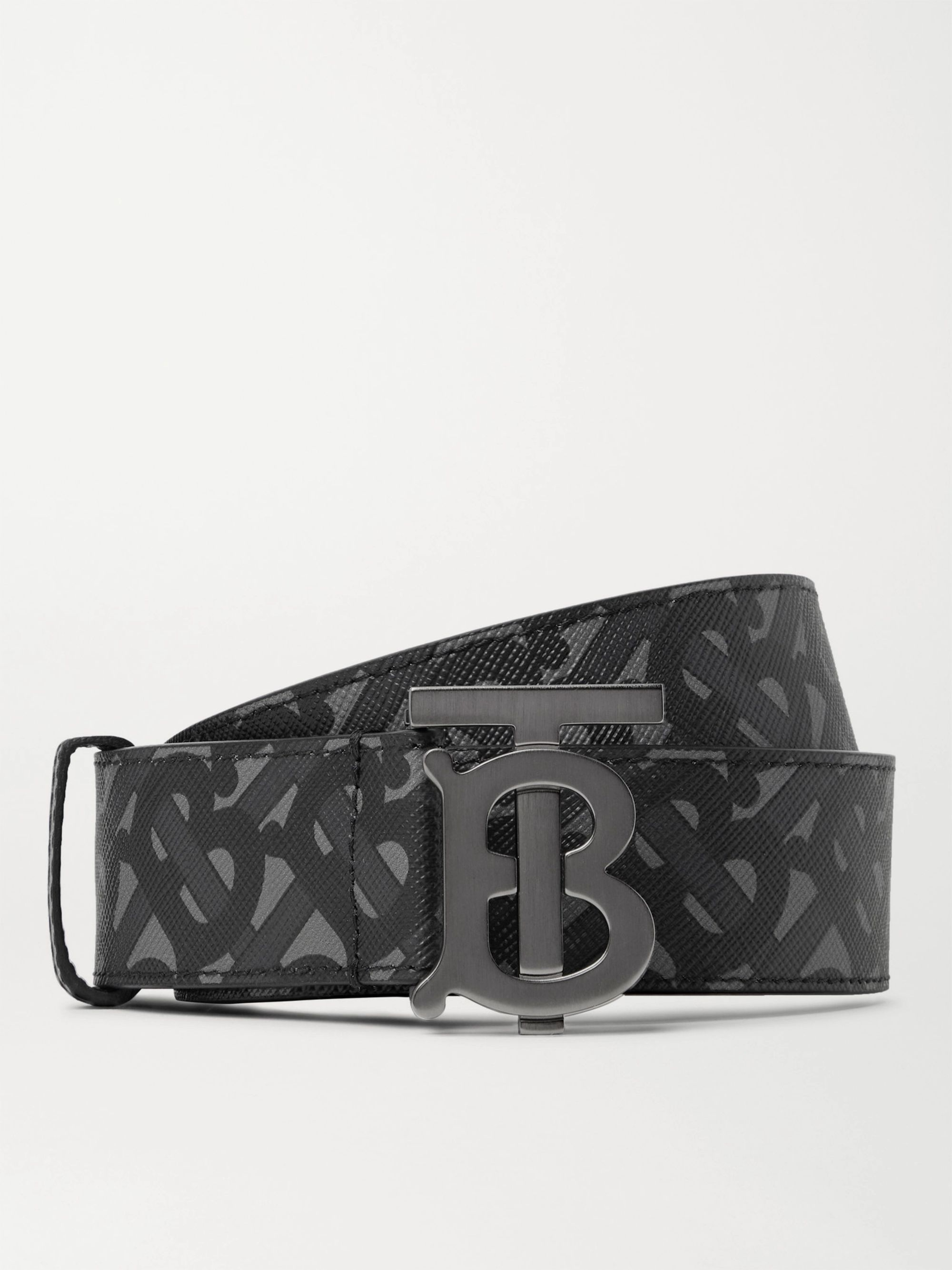 BURBERRY 3.5cm Reversible Logo-Print E-Canvas and Leather Belt