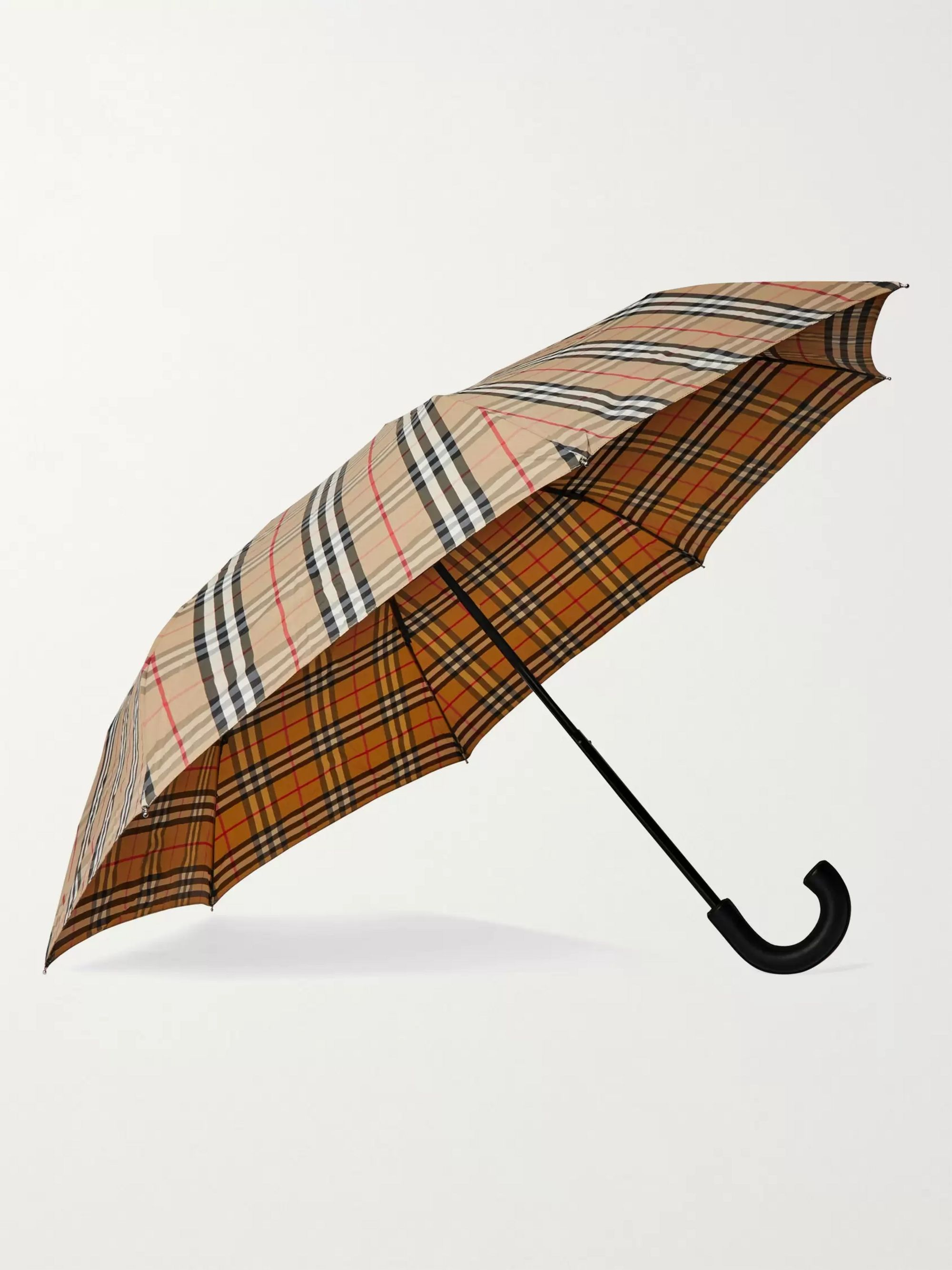 BURBERRY Checked Leather-Handle Umbrella