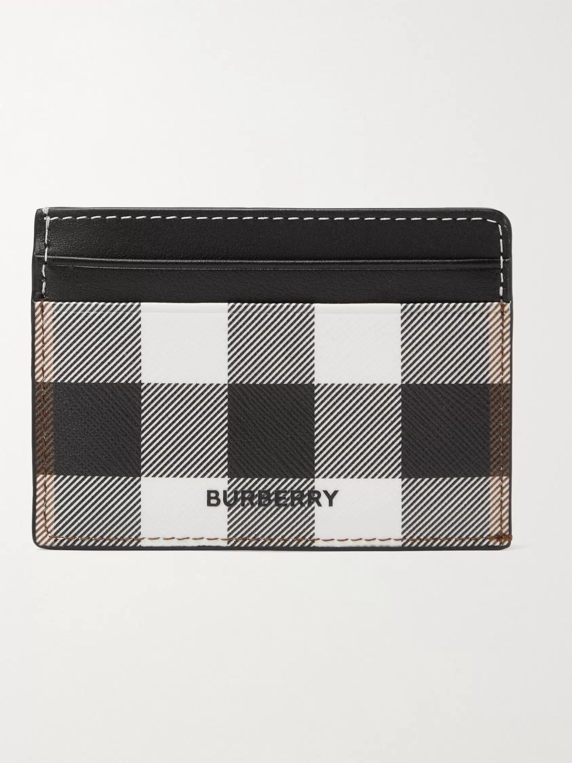 BURBERRY Logo-Appliqued Checked E-Canvas and Leather Cardholder