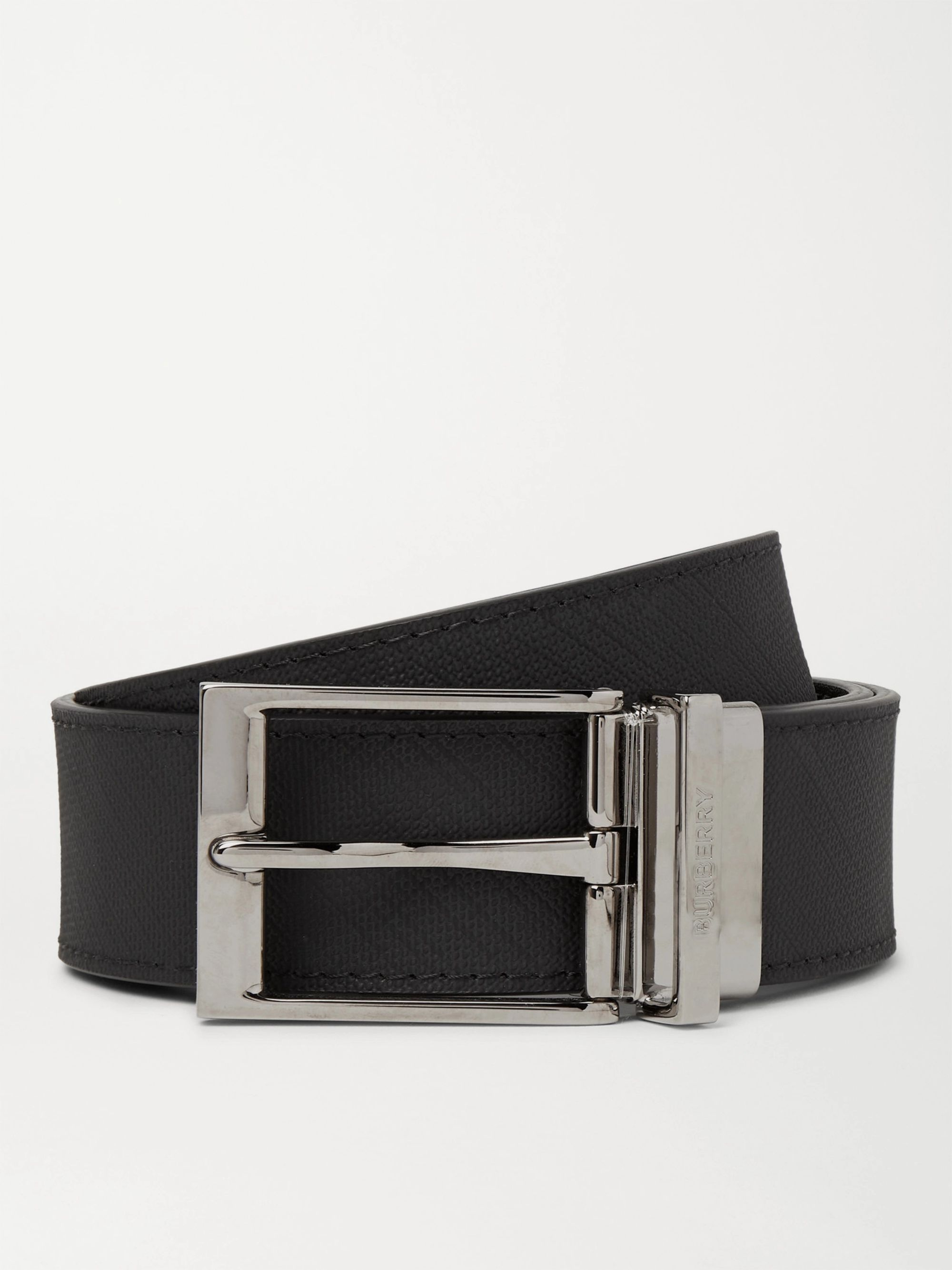 BURBERRY 3.5cm Reversible Textured-Leather Belt