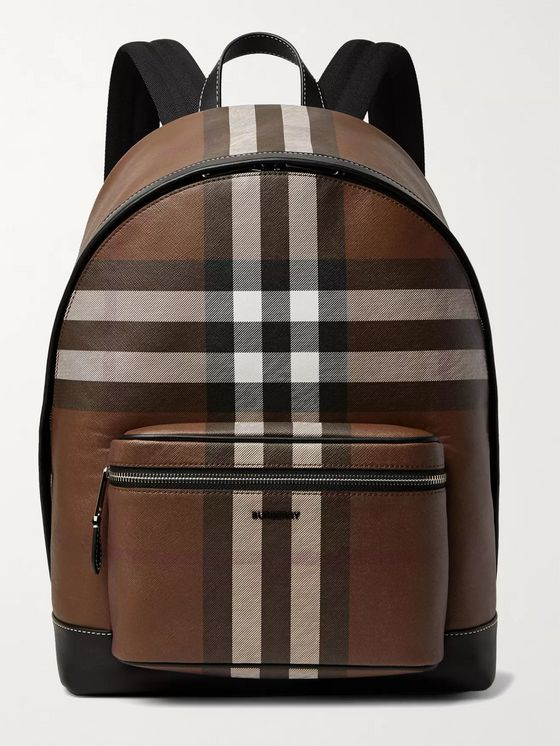 BURBERRY Leather-Trimmed Checked Coated-Canvas Backpack