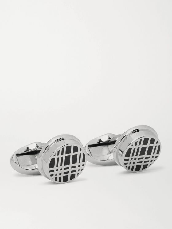 BURBERRY Silver-Tone and Enamel Cufflinks