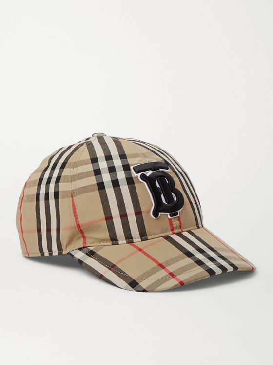 BURBERRY Logo-Embroidered Checked Cotton Oxford Baseball Cap