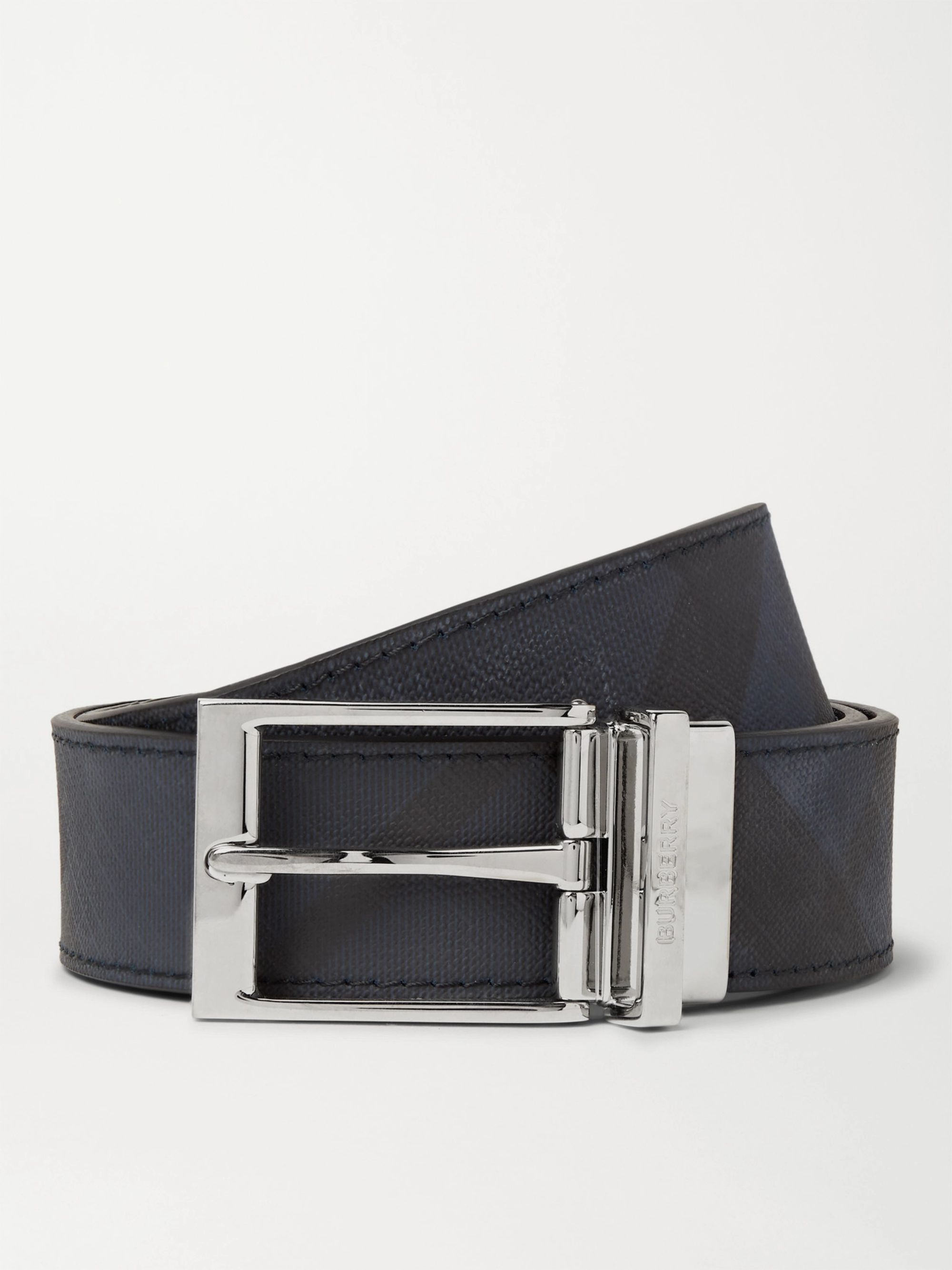 BURBERRY 3.5cm Reversible Coated-Canvas and Leather Belt