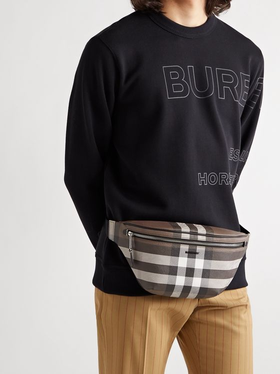 BURBERRY Logo-Appliquéd Leather-Trimmed Checked E-Canvas Belt Bag