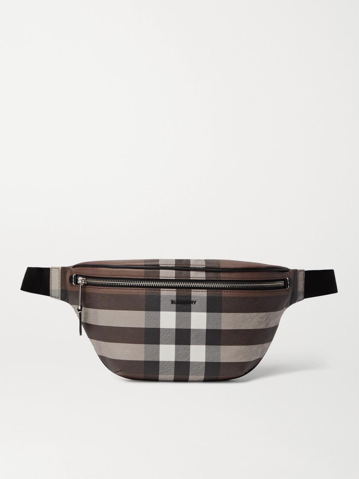 Burberry - Logo-Appliquéd Leather-Trimmed Checked E-Canvas Belt Bag - Men - Brown