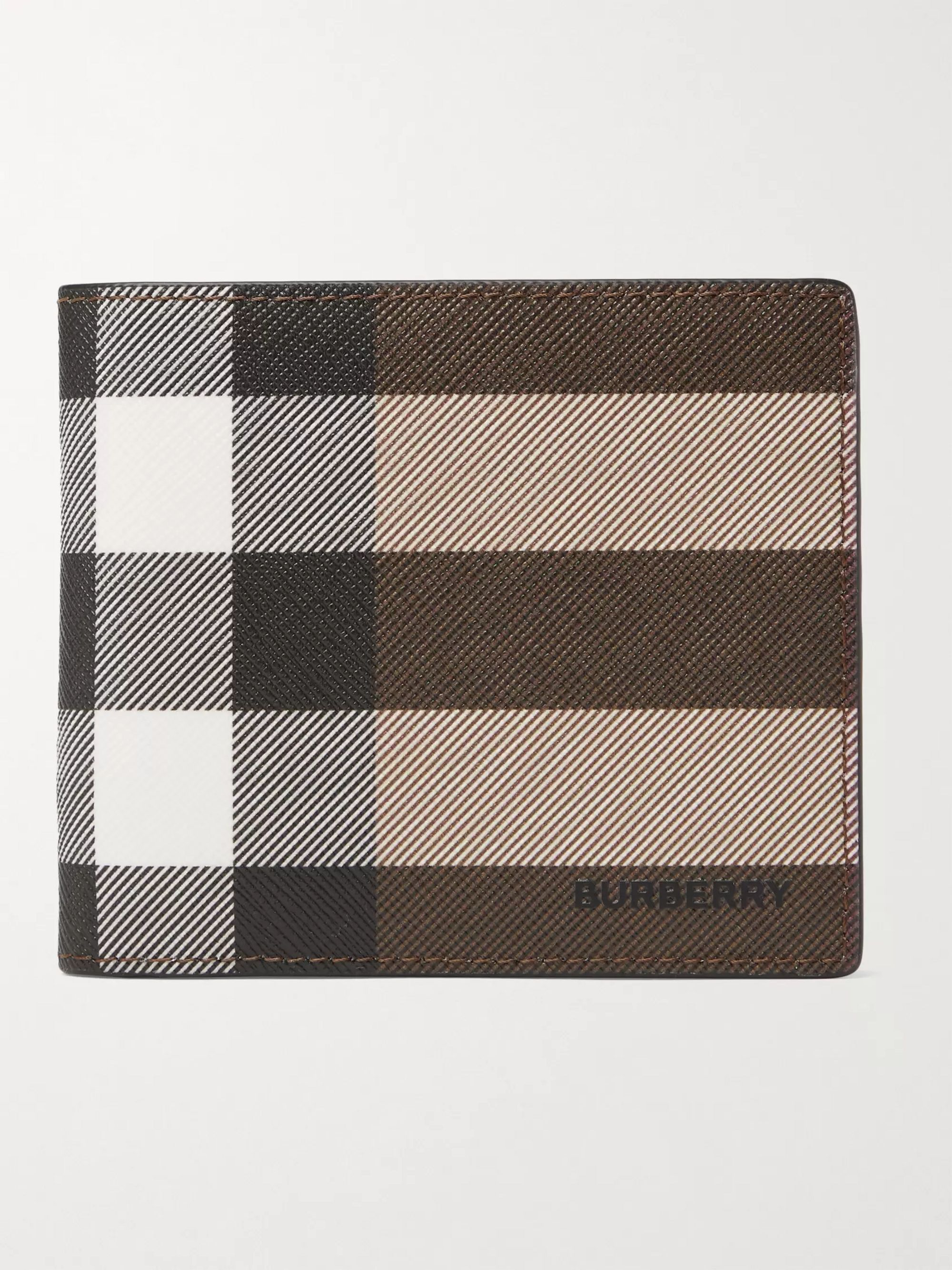 BURBERRY Logo-Appliqued Checked E-Canvas and Leather Billfold Wallet