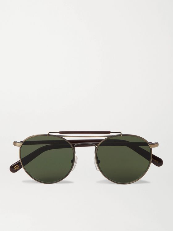 Moscot Lazer Sun Aviator-Style Gold-Tone and Acetate Sunglasses