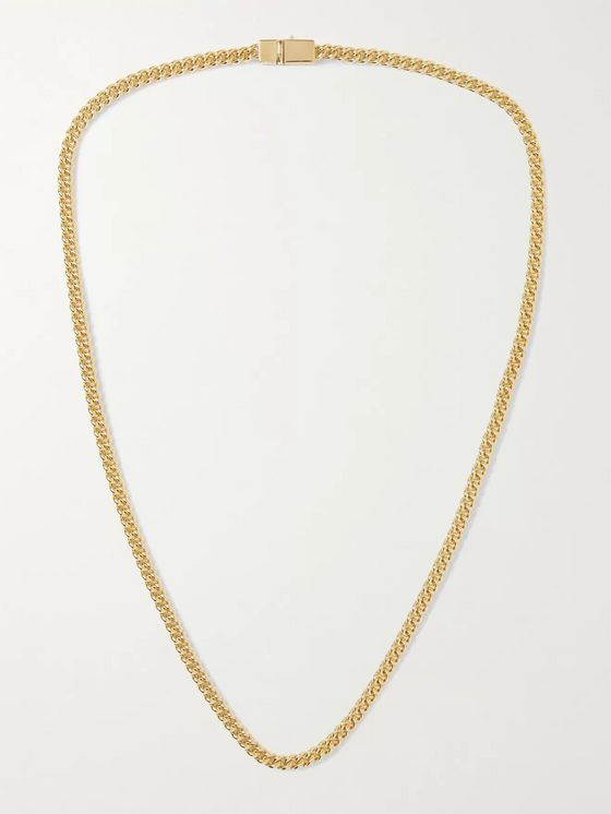TOM WOOD Gold Curb Chain Necklace