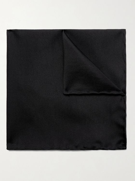 LANVIN Logo-Embroidered Silk-Twill Pocket Square