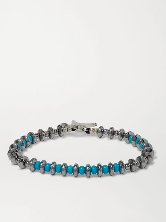 MIKIA Hematite, Turquoise and Sterling Silver Beaded Bracelet