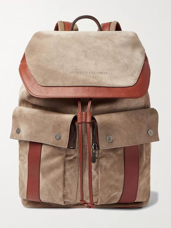BRUNELLO CUCINELLI Leather-Trimmed Suede Backpack