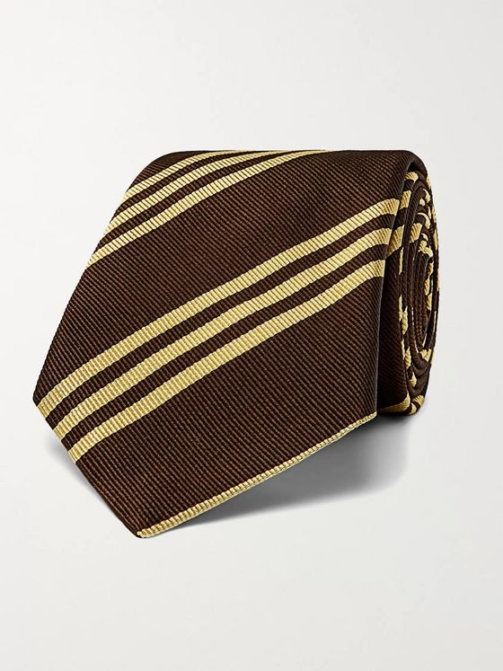 BRUNELLO CUCINELLI 7.5cm Striped Silk-Jacquard Tie