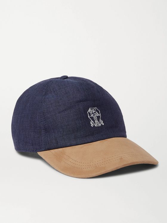 BRUNELLO CUCINELLI Logo-Embroidered Linen and Suede Baseball Cap