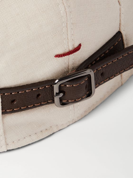 BRUNELLO CUCINELLI Leather-Trimmed Linen Flat Cap