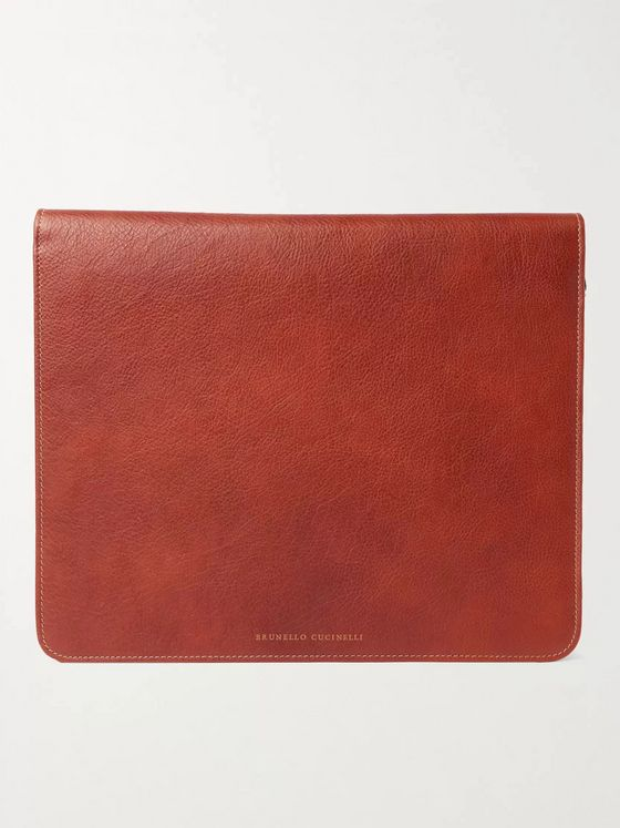 Brunello Cucinelli Full-Grain Leather Document Holder