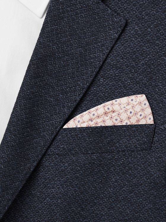 BRUNELLO CUCINELLI Printed Linen and Cotton-Blend Pocket Square