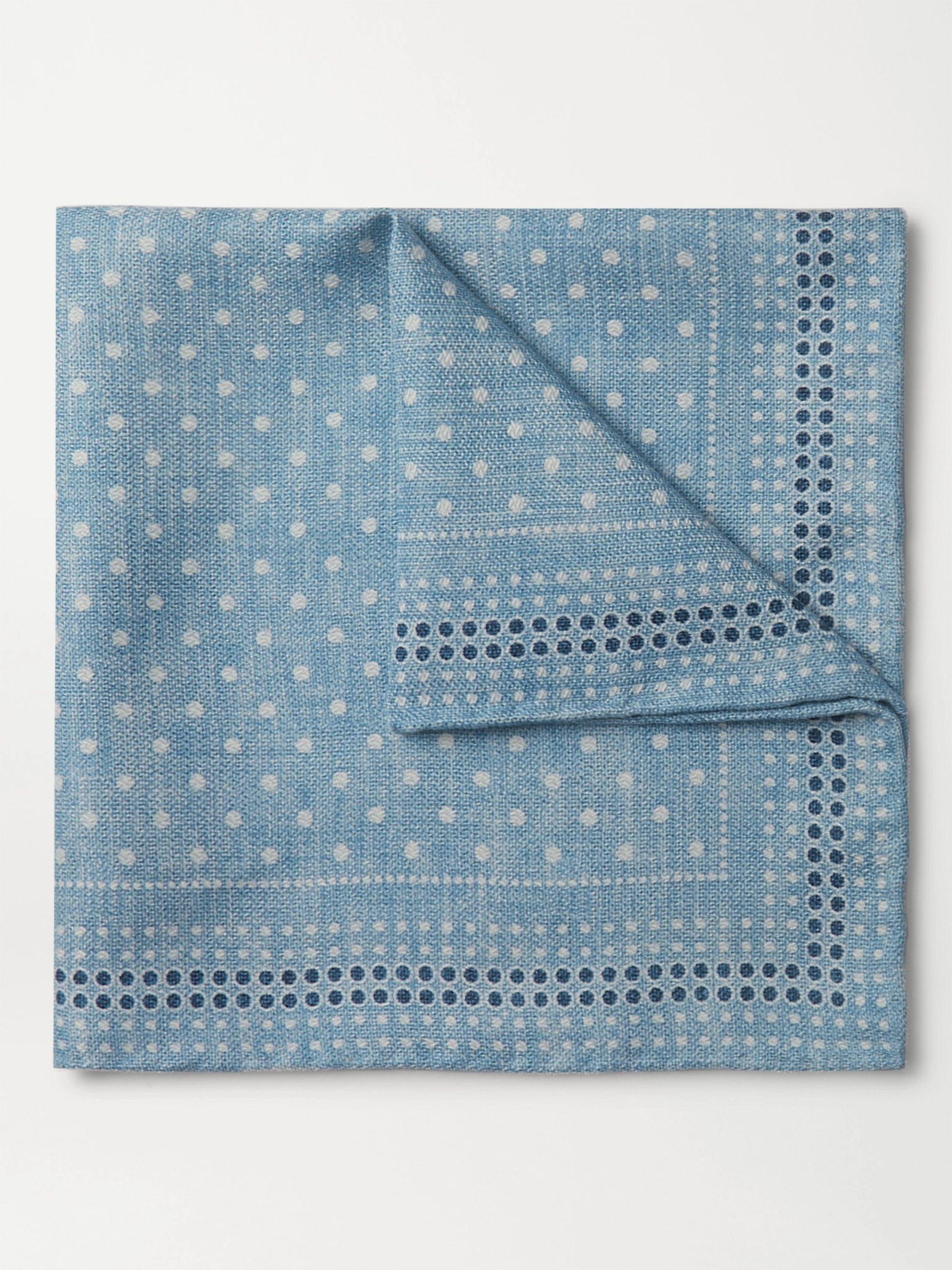 브루넬로 쿠치넬리 포켓 스퀘어 Brunello Cucinelli Reversible Printed Silk Pocket Square,Blue