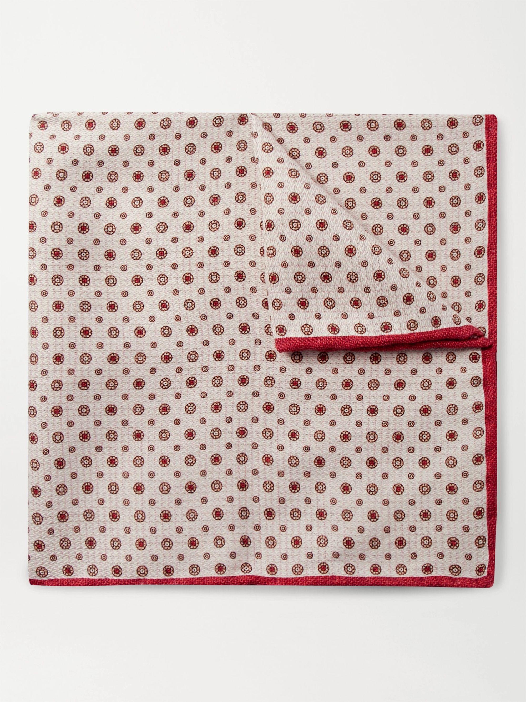 브루넬로 쿠치넬리 포켓 스퀘어 Brunello Cucinelli Printed Silk-Jacquard Pocket Square,Red