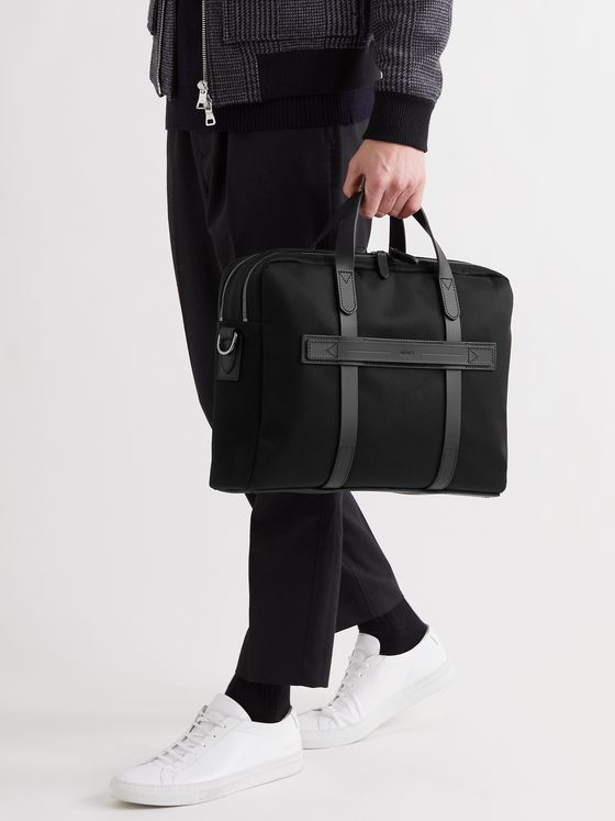 MISMO Endeavour Leather-Trimmed Nylon Briefcase