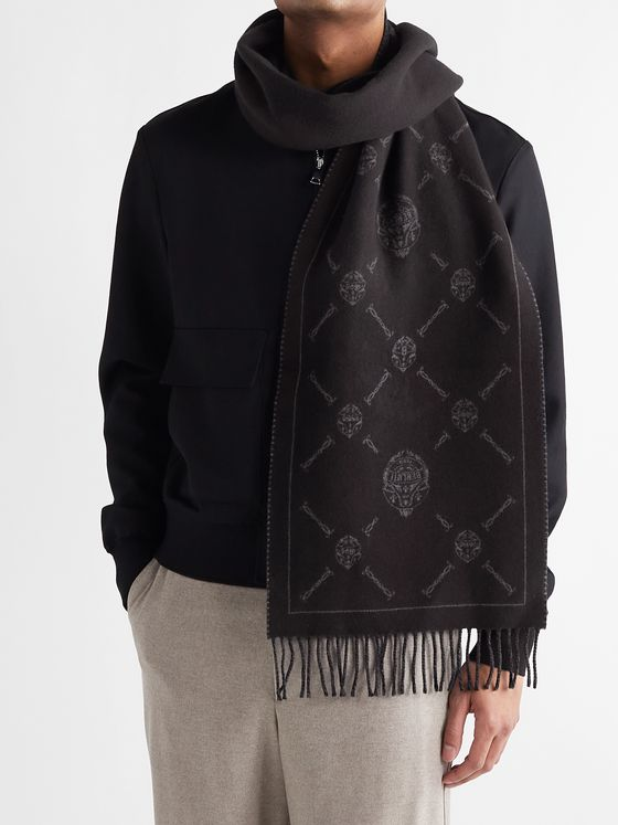 BERLUTI Logo-Intarsia Fringed Wool and Cashmere-Blend Scarf