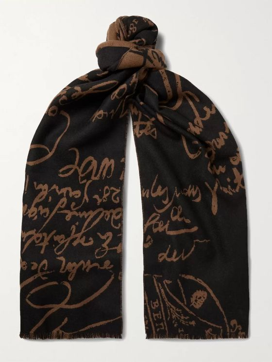BERLUTI Scritto Reversible Fringed Wool-Jacquard Scarf