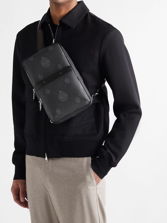 BERLUTI Mesh-Panelled Logo-Print Canvas and Leather Camera Bag