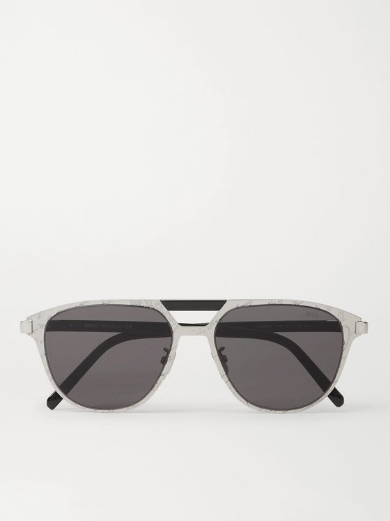 Berluti Scritto Aviator-Style Acetate and Silver-Tone Sunglasses
