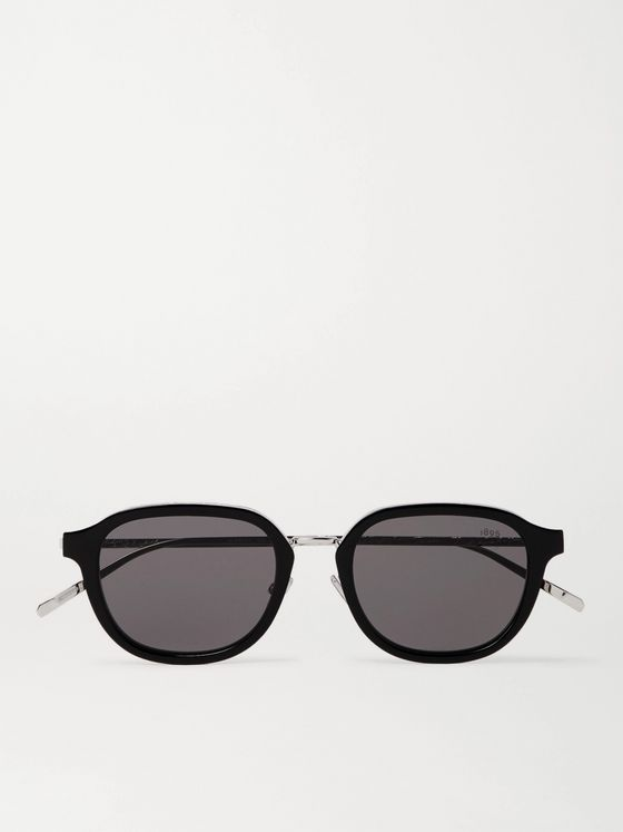 Berluti Round-Frame Acetate and Scritto Silver-Tone Sunglasses