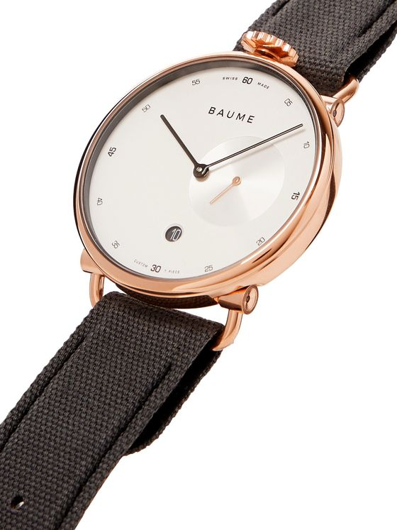 Baume 41mm PVD-Coated Stainless Steel and Cotton-Canvas Watch, Ref. No. 10600