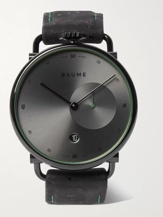 Baume 41mm PVD-Coated Stainless Steel and Cork Watch, Ref. No. 10599