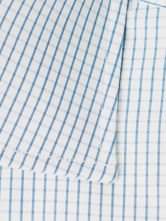 TURNBULL & ASSER Slim-Fit Cutaway-Collar Checked Cotton-Poplin Shirt