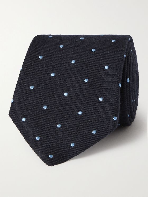 TURNBULL & ASSER 8cm Polka-Dot Silk, Wool and Linen-Blend Tie