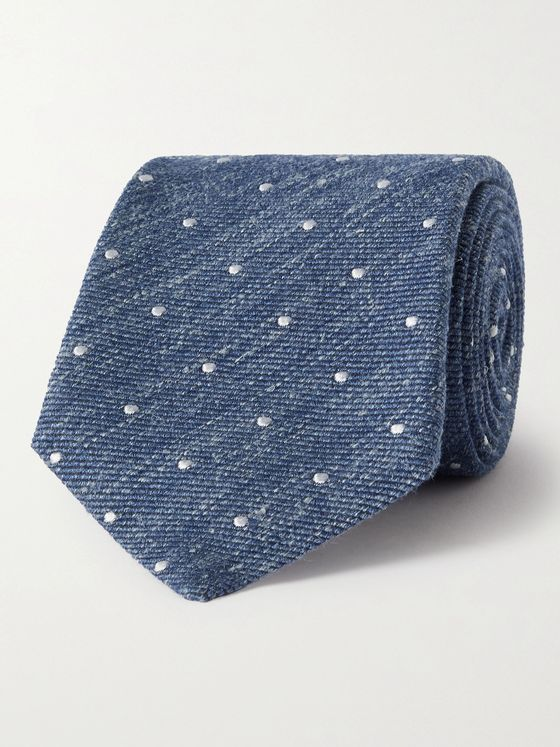 TURNBULL & ASSER 8cm Polka-Dot Mélange Silk, Wool and Linen-Blend Tie