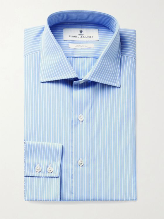 TURNBULL & ASSER Slim-Fit Cutaway-Collar Striped Cotton-Poplin Shirt