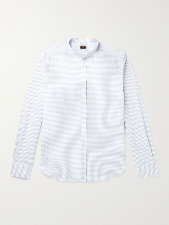 MP MASSIMO PIOMBO Grandad-Collar Checked Linen Shirt