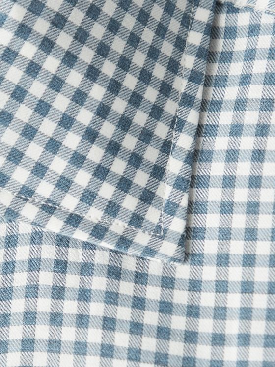 Turnbull & Asser Slim-Fit Cutaway-Collar Gingham Cotton-Poplin Shirt