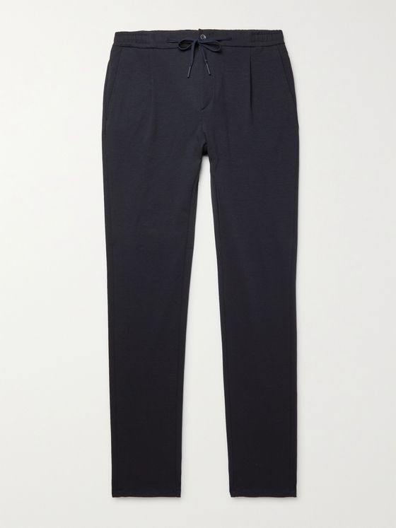 CANALI Tapered Pleated Cotton-Blend Drawstring Suit Trousers