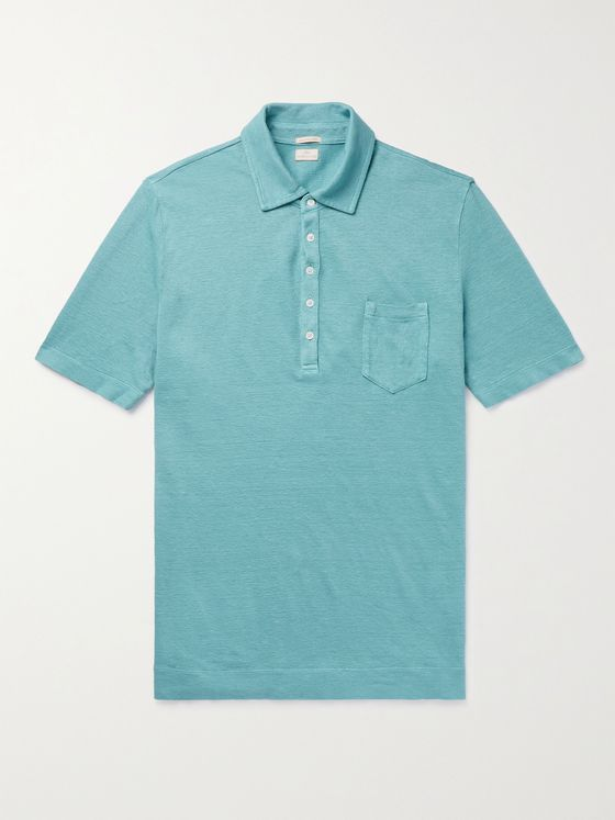 MASSIMO ALBA Wembley Textured-Linen Polo Shirt