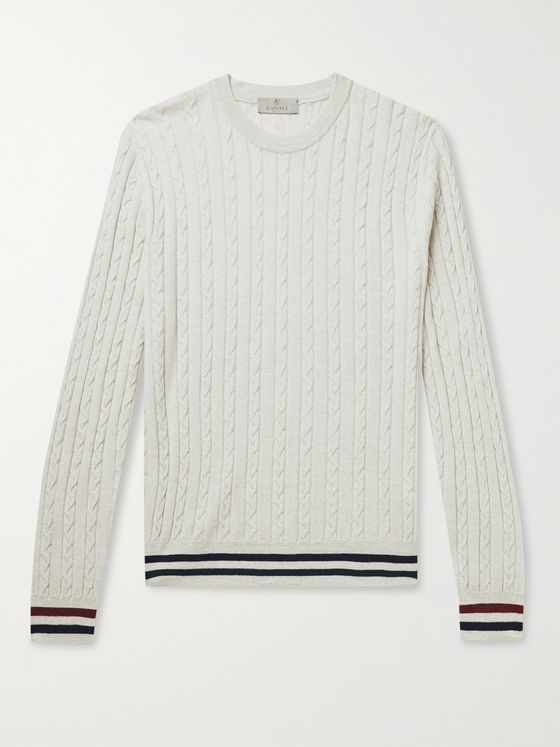 CANALI Striped Cable-Knit Wool Sweater