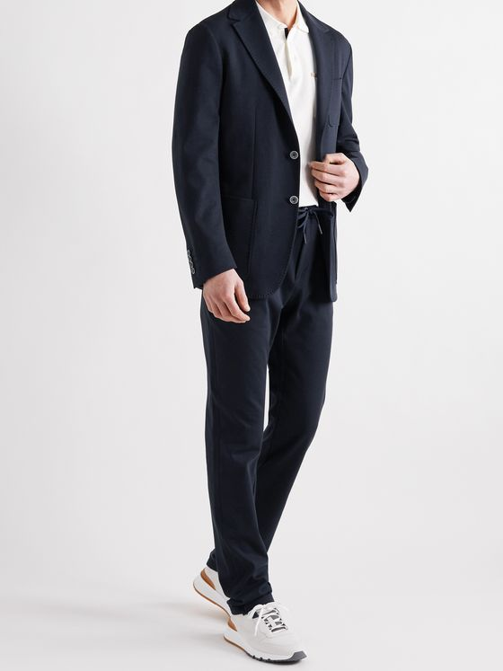 CANALI Unstructured Cotton-Jersey Suit Jacket