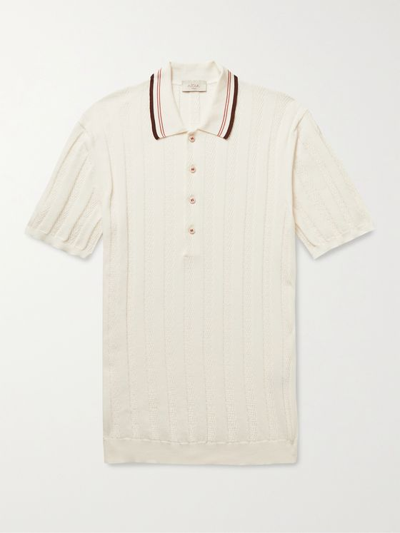 ALTEA Slim-Fit Striped Cotton Polo Shirt
