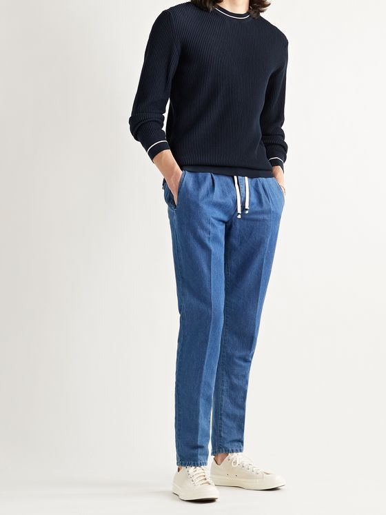 ALTEA Slim-Fit Ribbed Cotton Sweater