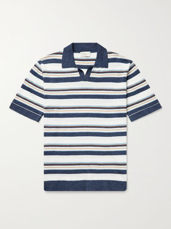 ALTEA Striped Cotton and Linen-Blend Polo Shirt