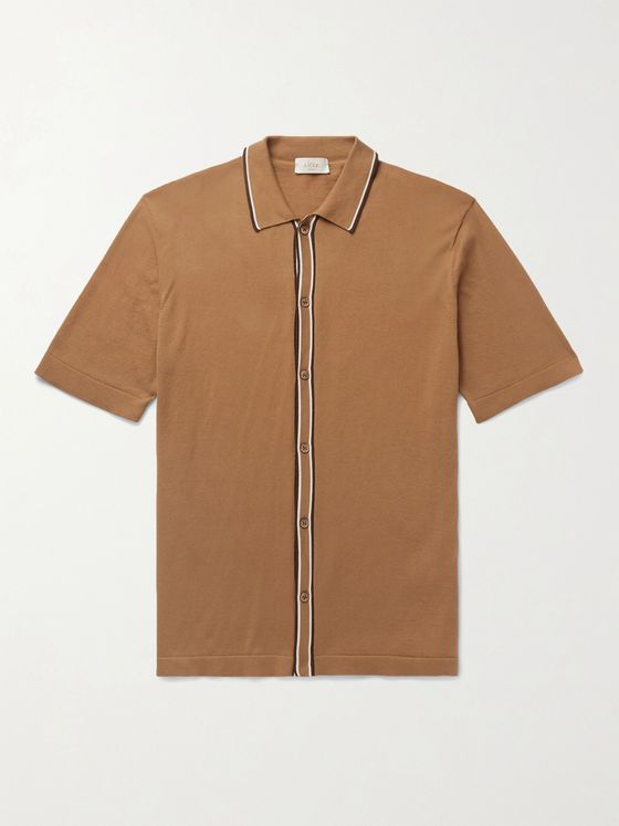 ALTEA Contrast-Tipped Cotton Shirt