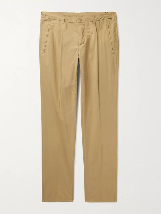 ALTEA Tapered Pleated Stretch-Cotton Trousers