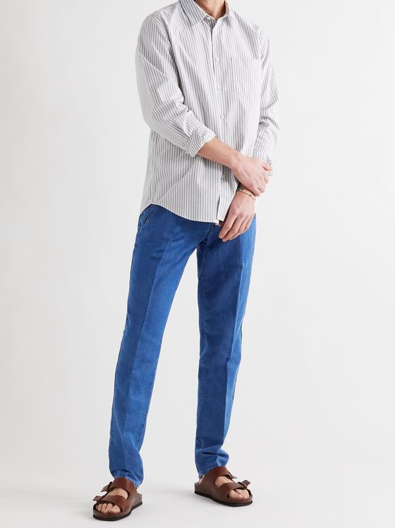 ALTEA Slim-Fit Tapered Cotton and Linen-Blend Trousers