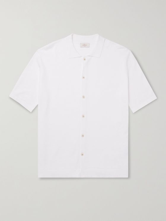 ALTEA Knitted Linen and Cotton-Blend Shirt